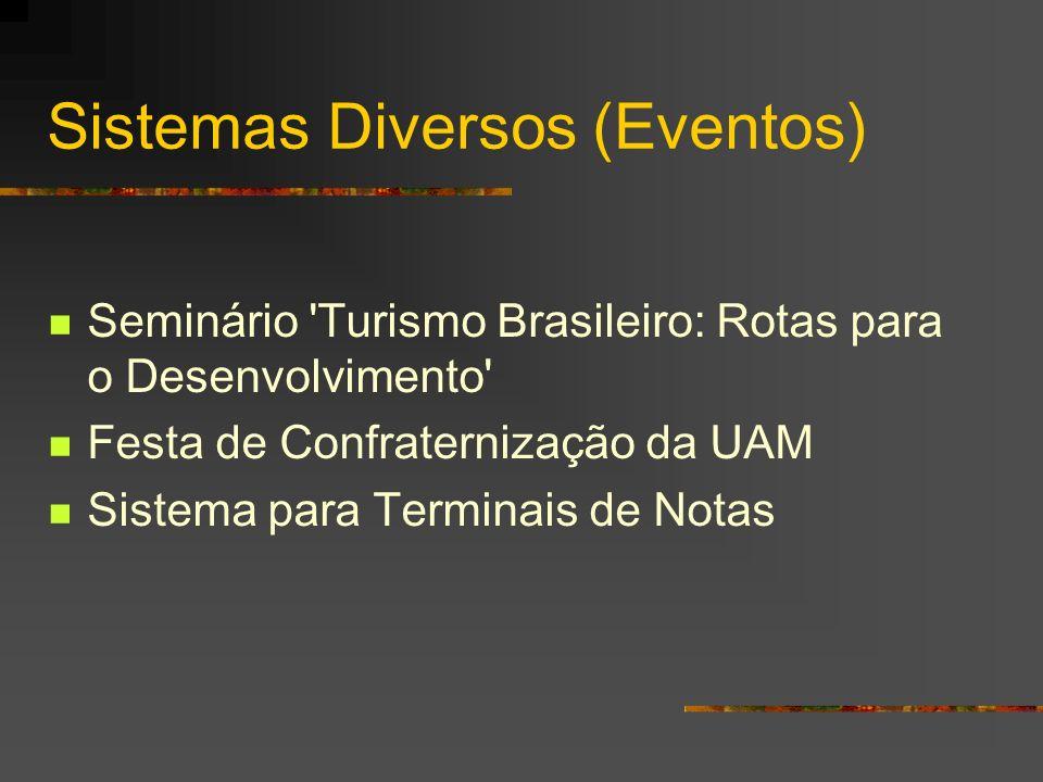 Sistemas Diversos (Eventos) Seminário 'Turismo Brasileiro: Rotas para o Desenvolvimento' Festa de Confraternização da UAM Sistema para Terminais de No