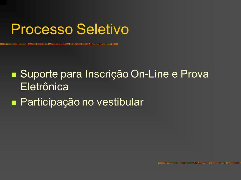 Processo Seletivo Suporte para Inscrição On-Line e Prova Eletrônica Participação no vestibular