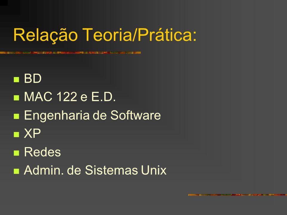 Relação Teoria/Prática: BD MAC 122 e E.D. Engenharia de Software XP Redes Admin. de Sistemas Unix