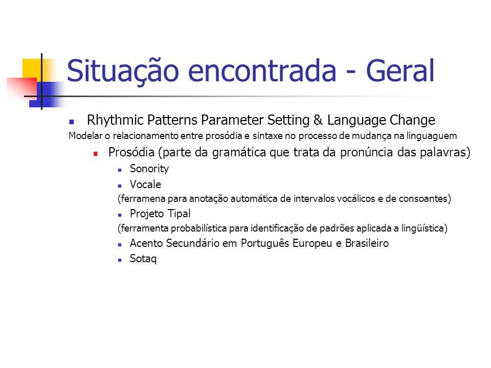 Situação encontrada - Geral Rhythmic Patterns Parameter Setting & Language Change Modelar o relacionamento entre prosódia e sintaxe no processo de mud