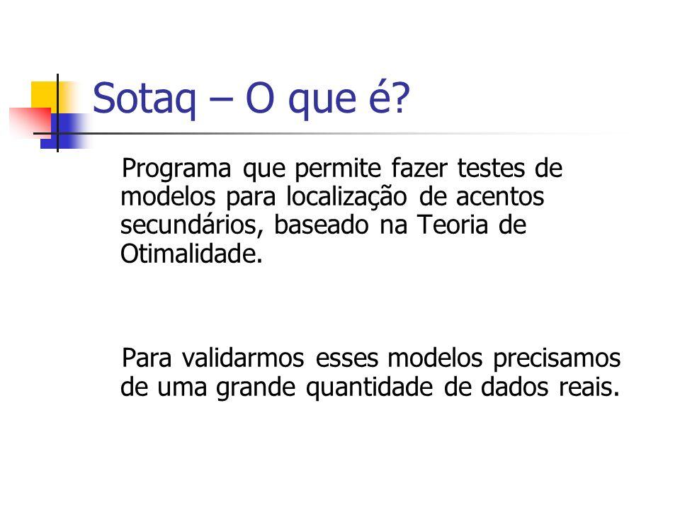 Sotaq – O que é? Programa que permite fazer testes de modelos para localização de acentos secundários, baseado na Teoria de Otimalidade. Para validarm