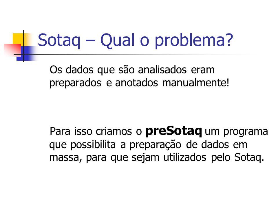 Sotaq – Qual o problema? Os dados que são analisados eram preparados e anotados manualmente! Para isso criamos o preSotaq um programa que possibilita