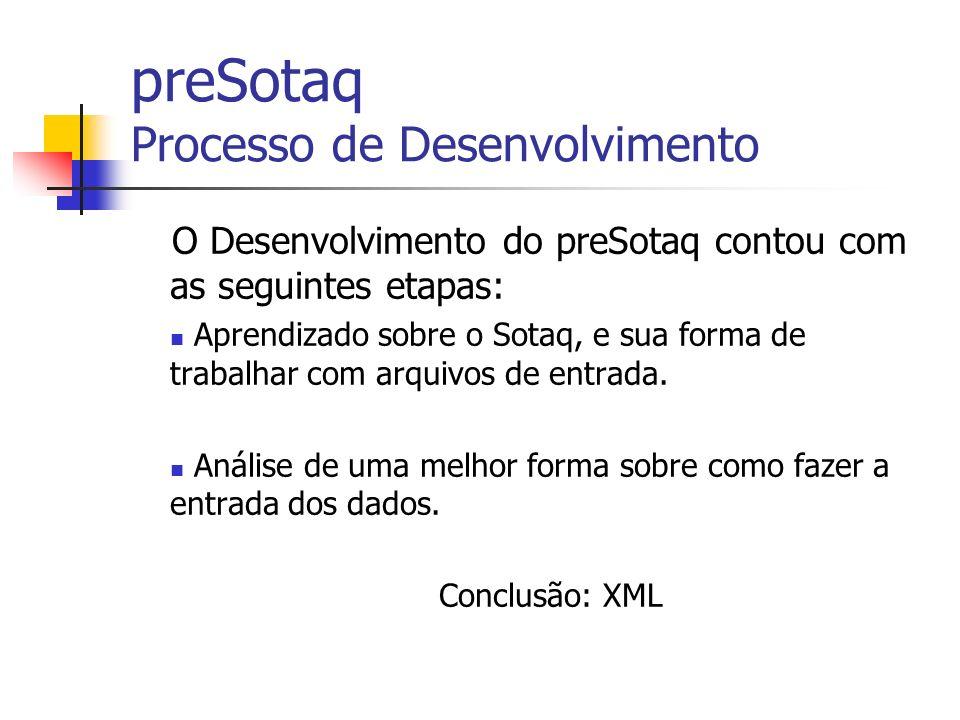 preSotaq Processo de Desenvolvimento O Desenvolvimento do preSotaq contou com as seguintes etapas: Aprendizado sobre o Sotaq, e sua forma de trabalhar