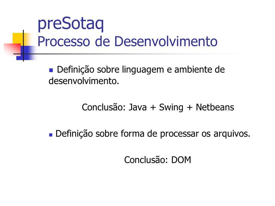 preSotaq Processo de Desenvolvimento Definição sobre linguagem e ambiente de desenvolvimento. Conclusão: Java + Swing + Netbeans Definição sobre forma