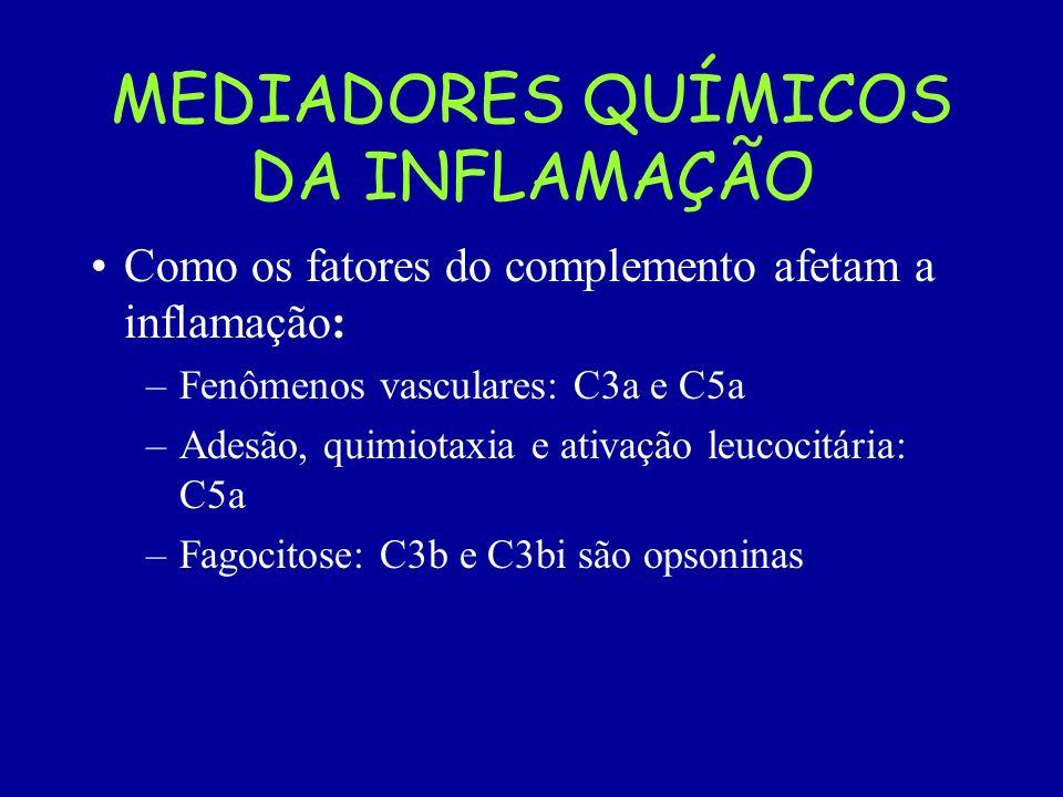 MEDIADORES QUÍMICOS DA INFLAMAÇÃO Como os fatores do complemento afetam a inflamação: –Fenômenos vasculares: C3a e C5a –Adesão, quimiotaxia e ativação