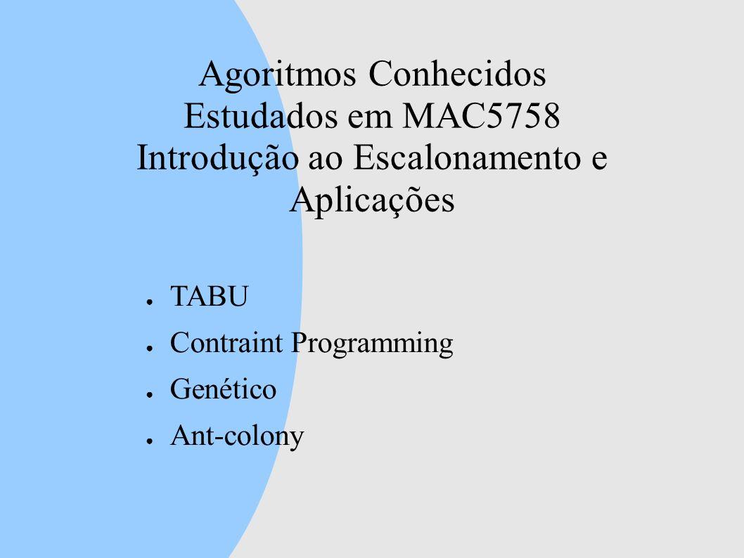 Agoritmos Conhecidos Estudados em MAC5758 Introdução ao Escalonamento e Aplicações TABU Contraint Programming Genético Ant-colony