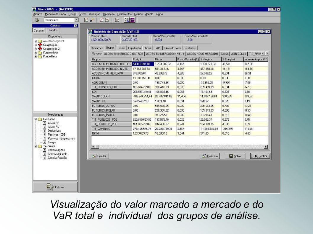 Visualização do valor marcado a mercado e do VaR total e individual dos grupos de análise.