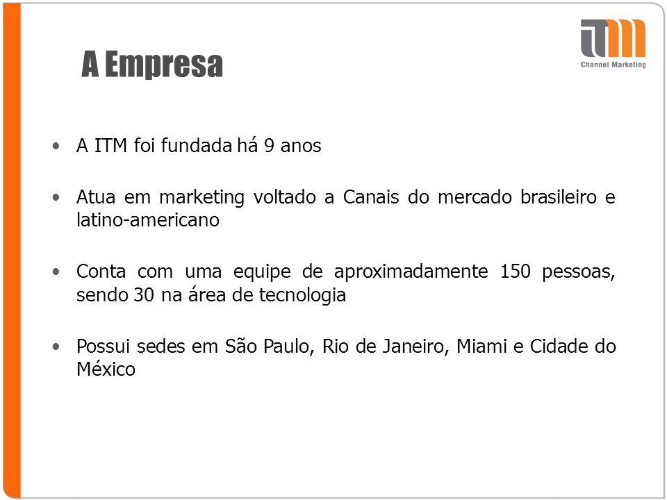 A Empresa A ITM foi fundada há 9 anos Atua em marketing voltado a Canais do mercado brasileiro e latino-americano Conta com uma equipe de aproximadamente 150 pessoas, sendo 30 na área de tecnologia Possui sedes em São Paulo, Rio de Janeiro, Miami e Cidade do México
