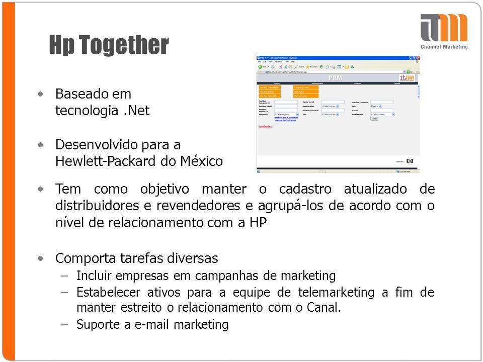 Hp Together Baseado em tecnologia.Net Desenvolvido para a Hewlett-Packard do México Tem como objetivo manter o cadastro atualizado de distribuidores e revendedores e agrupá-los de acordo com o nível de relacionamento com a HP Comporta tarefas diversas –Incluir empresas em campanhas de marketing –Estabelecer ativos para a equipe de telemarketing a fim de manter estreito o relacionamento com o Canal.