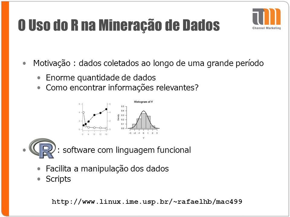O Uso do R na Mineração de Dados Motivação : dados coletados ao longo de uma grande período Enorme quantidade de dados Como encontrar informações relevantes.