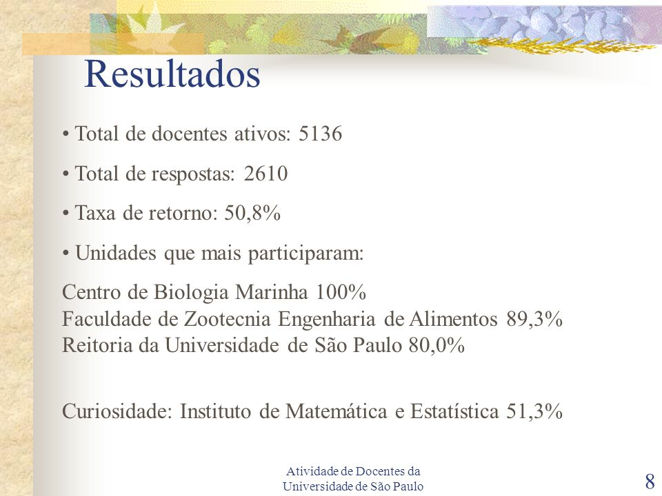 Atividade de Docentes da Universidade de São Paulo 8 Resultados Total de docentes ativos: 5136 Total de respostas: 2610 Taxa de retorno: 50,8% Unidades que mais participaram: Centro de Biologia Marinha 100% Faculdade de Zootecnia Engenharia de Alimentos 89,3% Reitoria da Universidade de São Paulo 80,0% Curiosidade: Instituto de Matemática e Estatística 51,3%