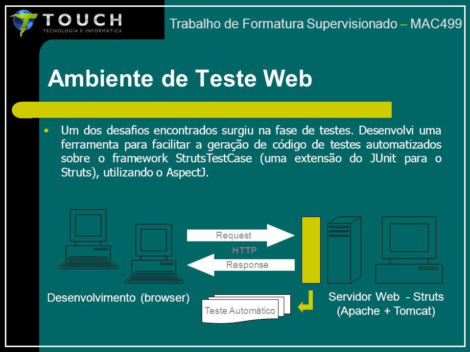 Ambiente de Teste Web Trabalho de Formatura Supervisionado – MAC499 Um dos desafios encontrados surgiu na fase de testes.