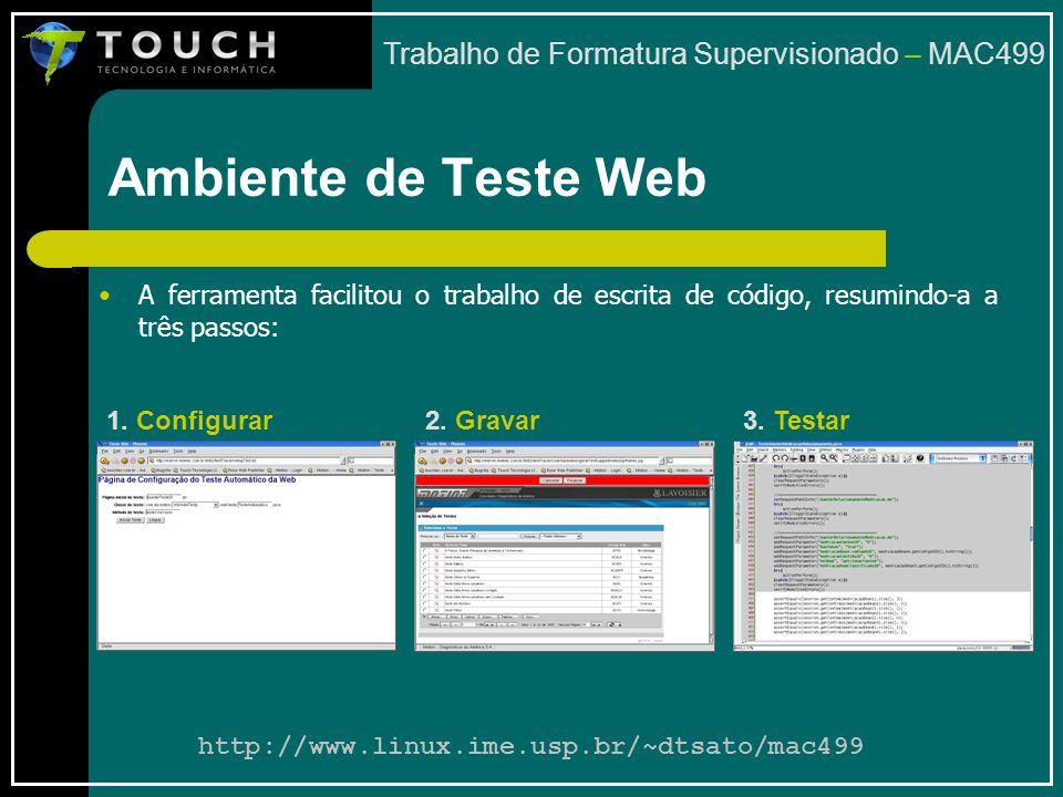 Ambiente de Teste Web Trabalho de Formatura Supervisionado – MAC499 A ferramenta facilitou o trabalho de escrita de código, resumindo-a a três passos: 1.