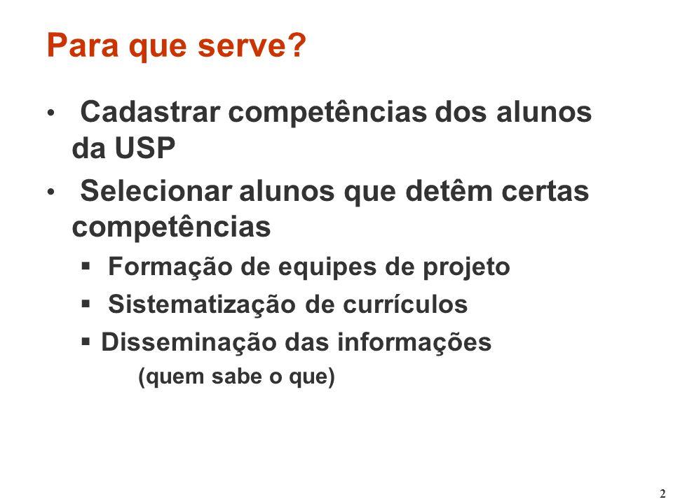 2 Para que serve? Cadastrar competências dos alunos da USP Selecionar alunos que detêm certas competências Formação de equipes de projeto Sistematizaç