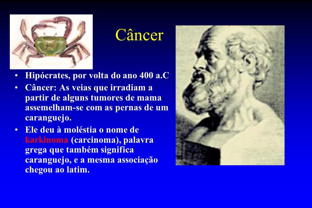 Câncer Hipócrates, por volta do ano 400 a.C Câncer: As veias que irradiam a partir de alguns tumores de mama assemelham-se com as pernas de um carangu