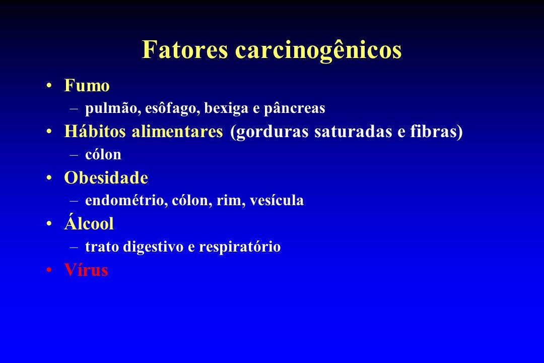 Fatores carcinogênicos Fumo –pulmão, esôfago, bexiga e pâncreas Hábitos alimentares (gorduras saturadas e fibras) –cólon Obesidade –endométrio, cólon,