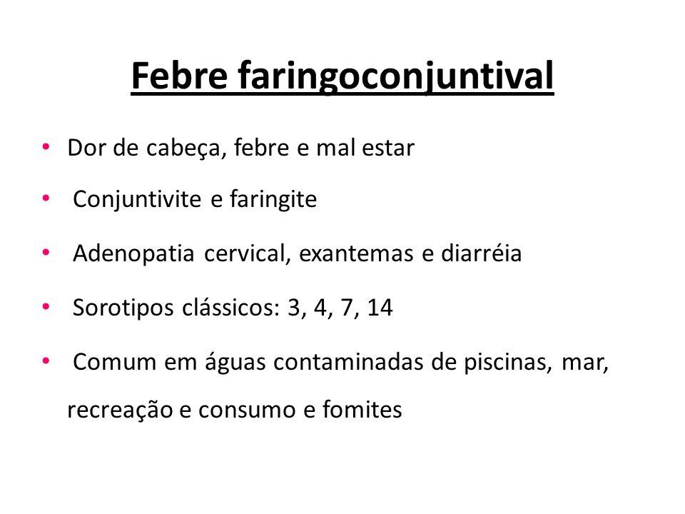 Febre faringoconjuntival Dor de cabeça, febre e mal estar Conjuntivite e faringite Adenopatia cervical, exantemas e diarréia Sorotipos clássicos: 3, 4