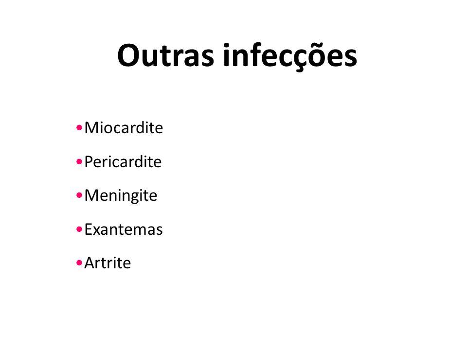 Outras infecções Miocardite Pericardite Meningite Exantemas Artrite