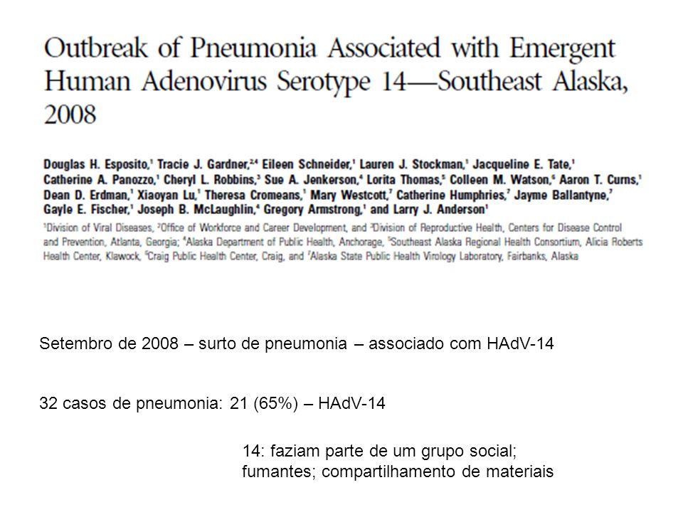 Setembro de 2008 – surto de pneumonia – associado com HAdV-14 32 casos de pneumonia: 21 (65%) – HAdV-14 14: faziam parte de um grupo social; fumantes;