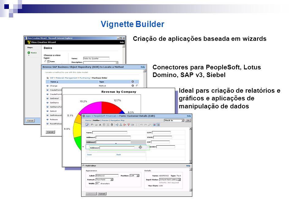 Vignette Builder Criação de aplicações baseada em wizards Conectores para PeopleSoft, Lotus Domino, SAP v3, Siebel Ideal pars criação de relatórios e