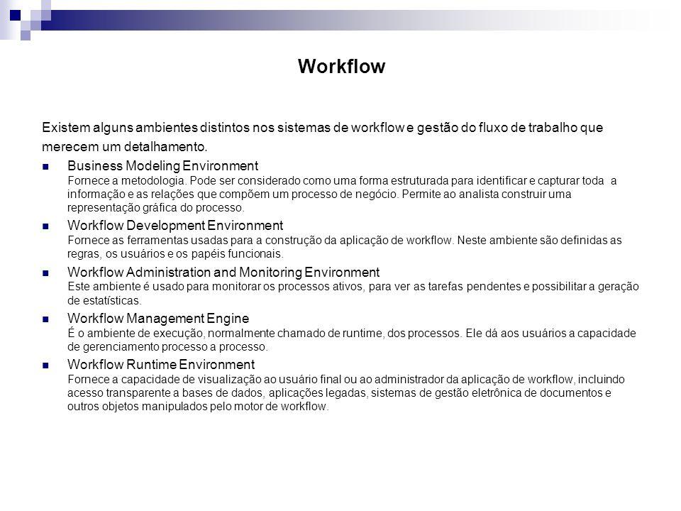 Workflow Existem alguns ambientes distintos nos sistemas de workflow e gestão do fluxo de trabalho que merecem um detalhamento. Business Modeling Envi