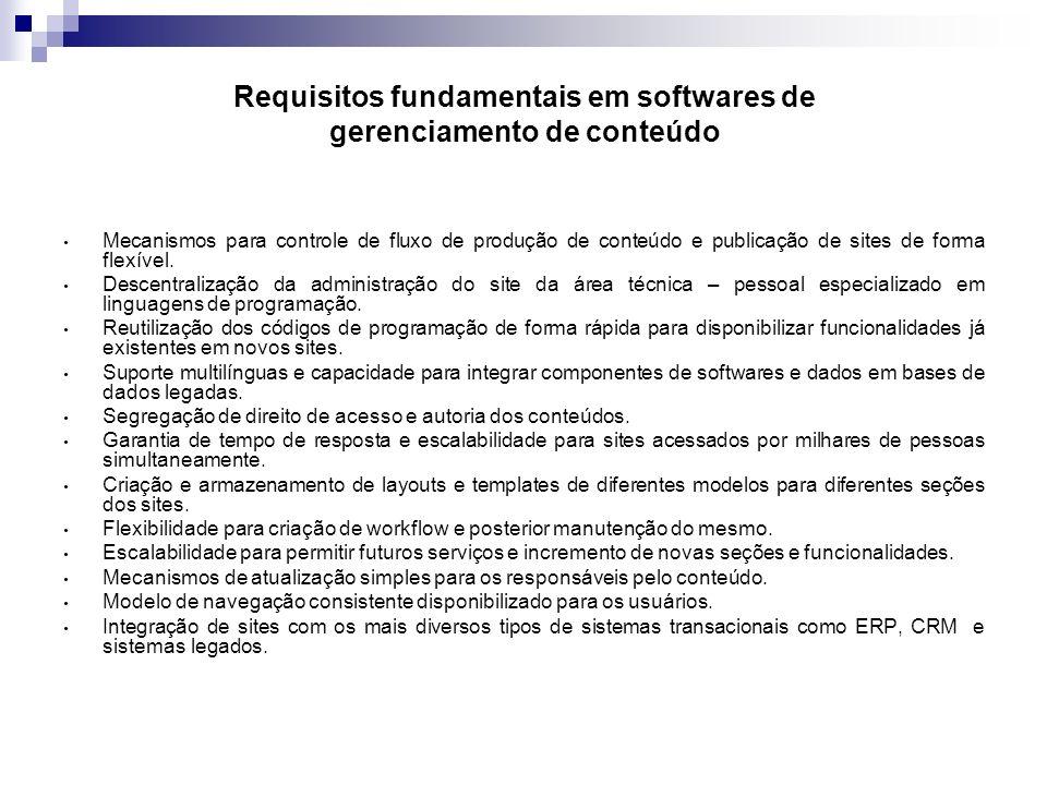 Requisitos fundamentais em softwares de gerenciamento de conteúdo Mecanismos para controle de fluxo de produção de conteúdo e publicação de sites de f