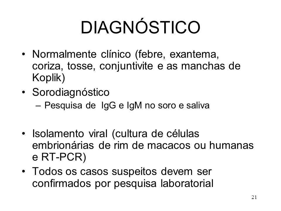 21 DIAGNÓSTICO Normalmente clínico (febre, exantema, coriza, tosse, conjuntivite e as manchas de Koplik) Sorodiagnóstico –Pesquisa de IgG e IgM no sor