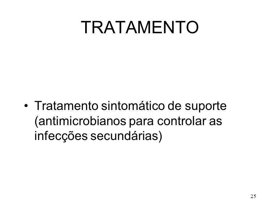 25 TRATAMENTO Tratamento sintomático de suporte (antimicrobianos para controlar as infecções secundárias)