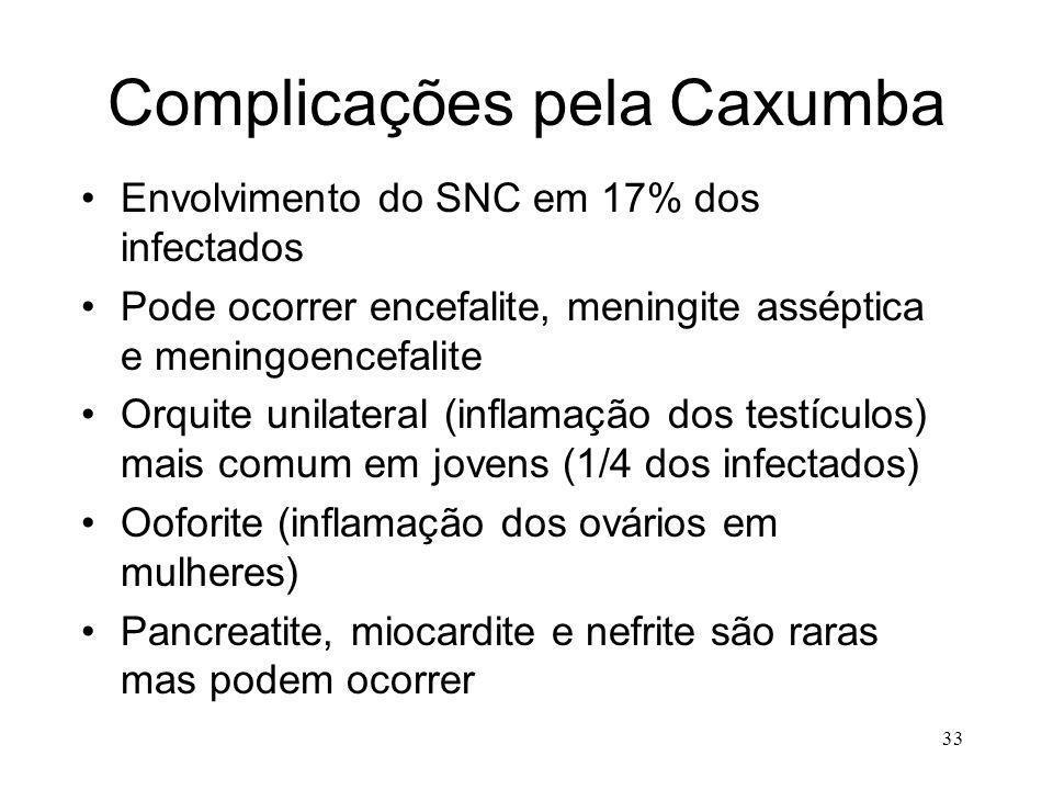 33 Complicações pela Caxumba Envolvimento do SNC em 17% dos infectados Pode ocorrer encefalite, meningite asséptica e meningoencefalite Orquite unilat