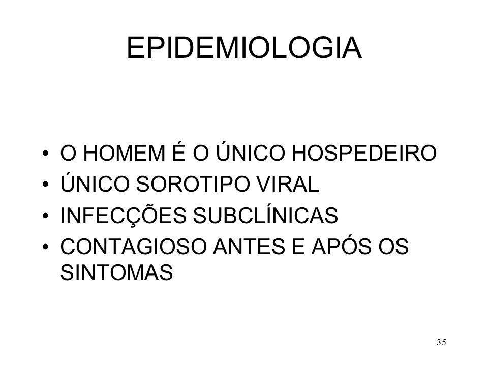 35 EPIDEMIOLOGIA O HOMEM É O ÚNICO HOSPEDEIRO ÚNICO SOROTIPO VIRAL INFECÇÕES SUBCLÍNICAS CONTAGIOSO ANTES E APÓS OS SINTOMAS