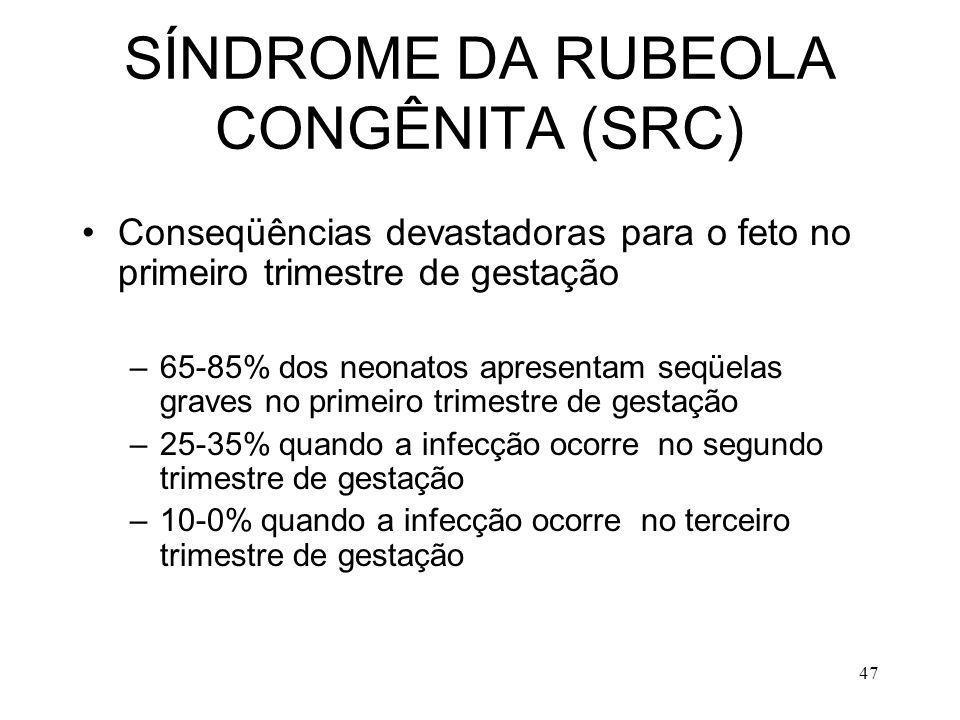 47 SÍNDROME DA RUBEOLA CONGÊNITA (SRC) Conseqüências devastadoras para o feto no primeiro trimestre de gestação –65-85% dos neonatos apresentam seqüel