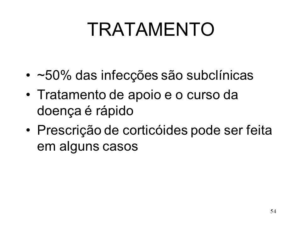 54 TRATAMENTO ~50% das infecções são subclínicas Tratamento de apoio e o curso da doença é rápido Prescrição de corticóides pode ser feita em alguns c