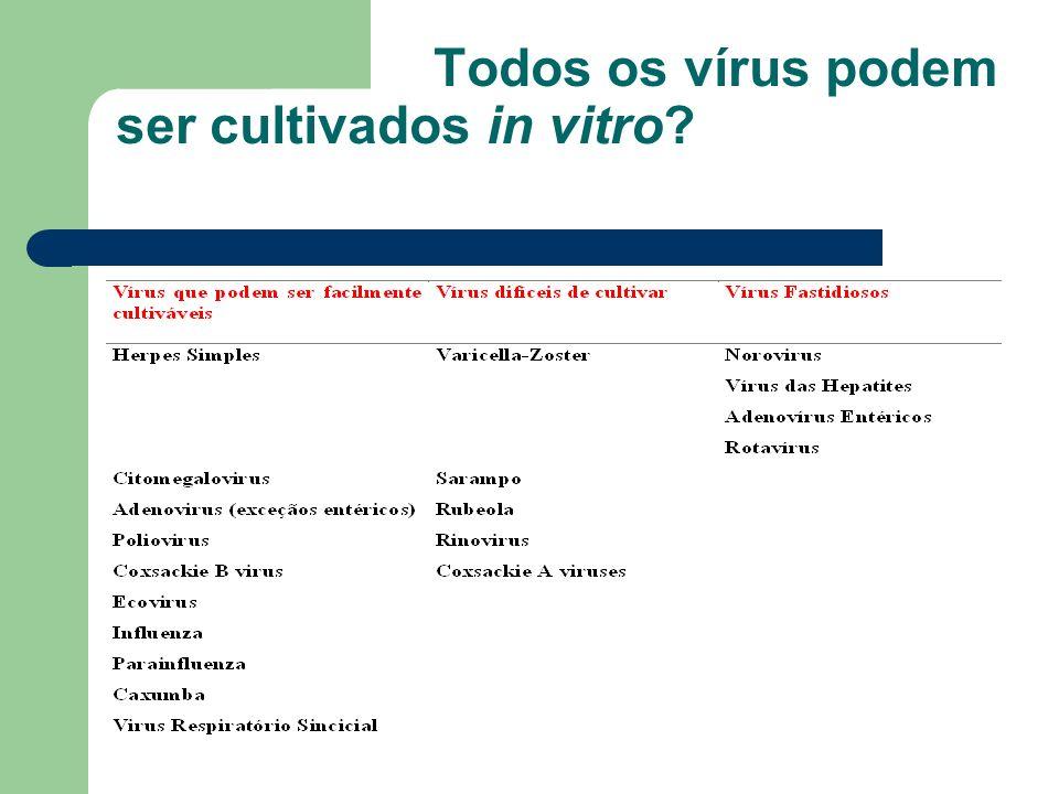 Todos os vírus podem ser cultivados in vitro?