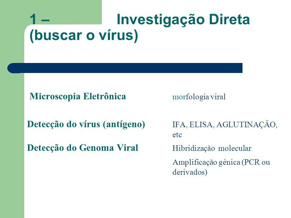 1 – Investigação Direta (buscar o vírus) Microscopia Eletrônica morfologia viral Detecção do vírus (antígeno) IFA, ELISA, AGLUTINAÇÃO, etc Detecção do