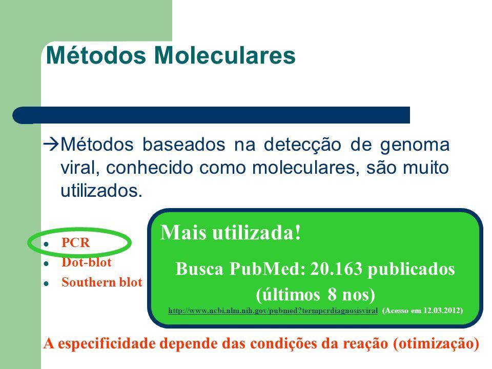 Métodos Moleculares Métodos baseados na detecção de genoma viral, conhecido como moleculares, são muito utilizados. PCR Dot-blot Southern blot A espec
