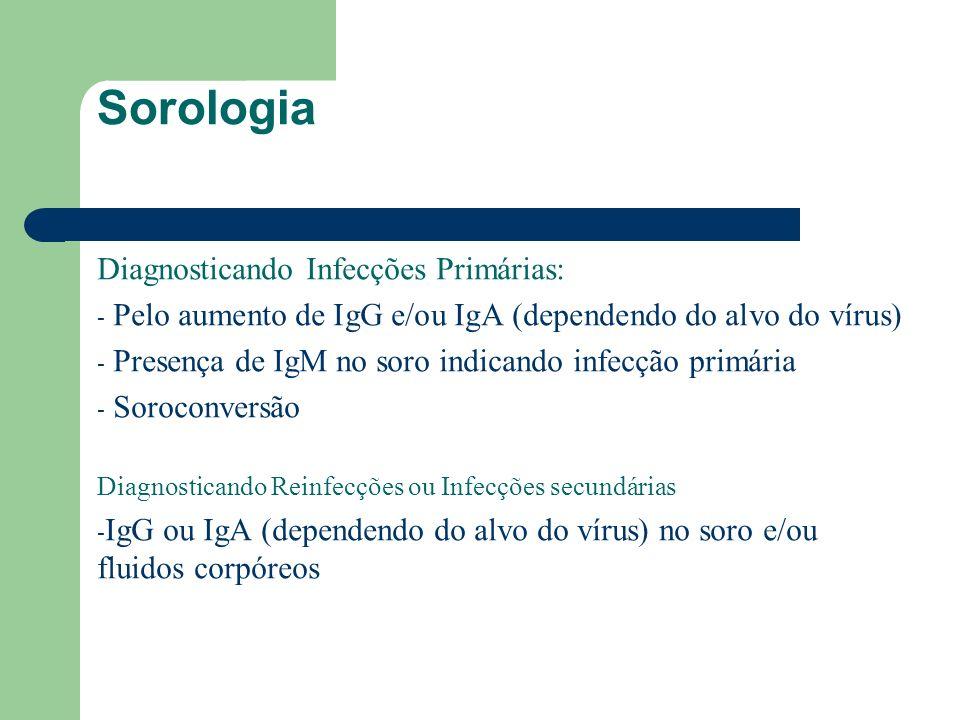Sorologia Diagnosticando Infecções Primárias: - Pelo aumento de IgG e/ou IgA (dependendo do alvo do vírus) - Presença de IgM no soro indicando infecçã