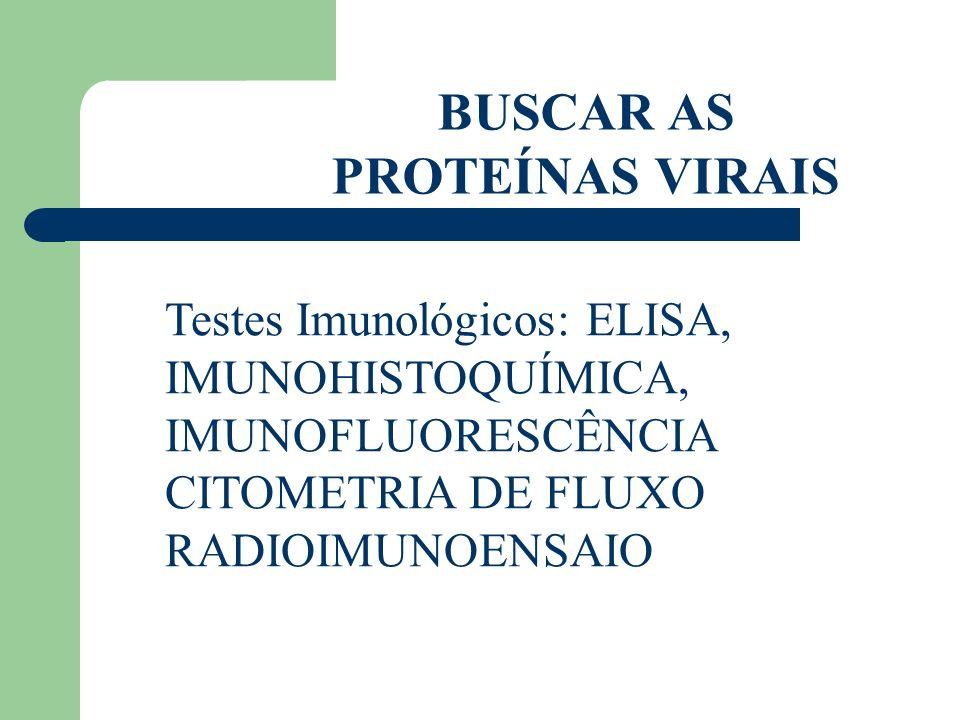 BUSCAR AS PROTEÍNAS VIRAIS Testes Imunológicos: ELISA, IMUNOHISTOQUÍMICA, IMUNOFLUORESCÊNCIA CITOMETRIA DE FLUXO RADIOIMUNOENSAIO