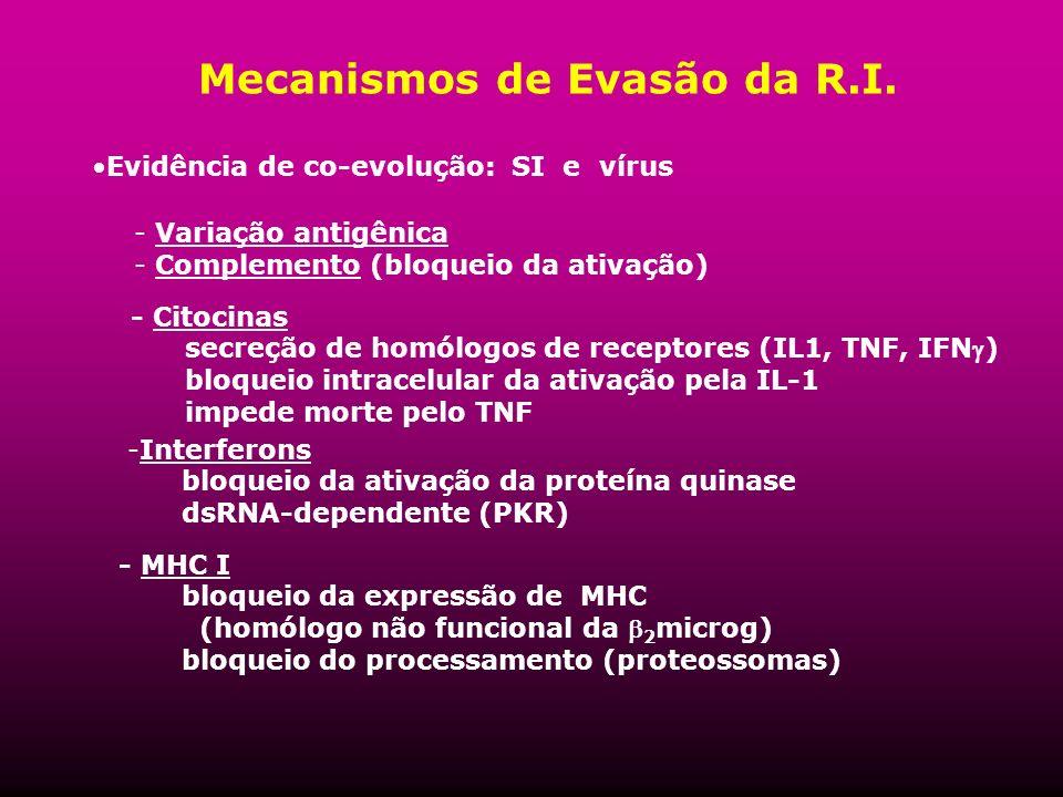 Mecanismos de Evasão da R.I. Evidência de co-evolução: SI e vírus - Variação antigênica - Complemento (bloqueio da ativação) -Interferons bloqueio da