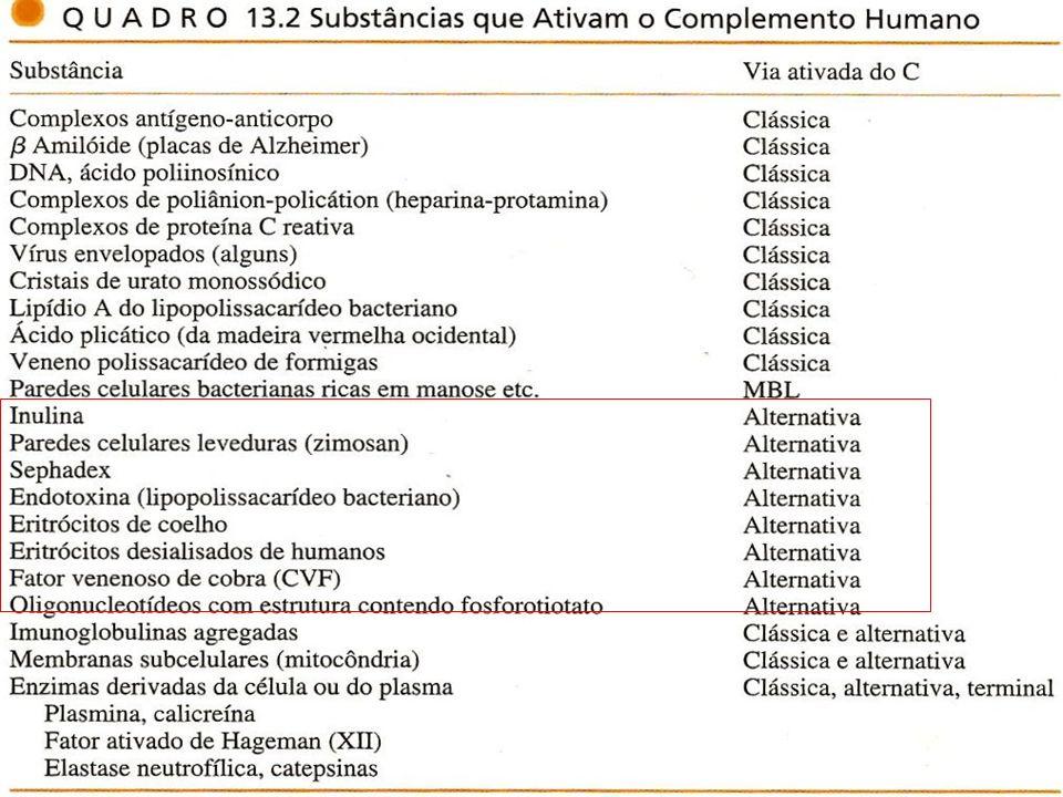 38 Ativadores da Via Alternativa do Complemento Microrganismos pobres em ácido siálico Paredes celulares ricas em polissacarídeos complexos
