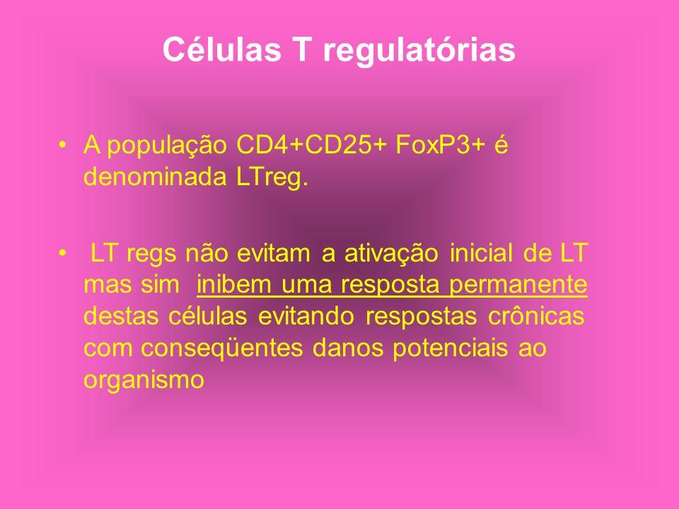 Células T regulatórias A população CD4+CD25+ FoxP3+ é denominada LTreg. LT regs não evitam a ativação inicial de LT mas sim inibem uma resposta perman