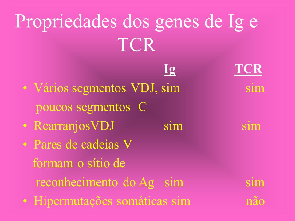 Propriedades dos genes de Ig e TCR Ig TCR Vários segmentos VDJ, sim sim poucos segmentos C RearranjosVDJ sim sim Pares de cadeias V formam o sítio de
