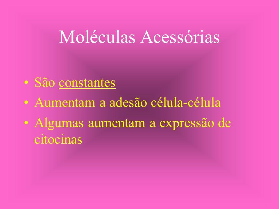Moléculas Acessórias São constantes Aumentam a adesão célula-célula Algumas aumentam a expressão de citocinas