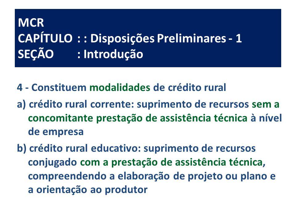 MCR CAPÍTULO: : Disposições Preliminares - 1 SEÇÃO: Introdução 4 - Constituem modalidades de crédito rural a) crédito rural corrente: suprimento de re
