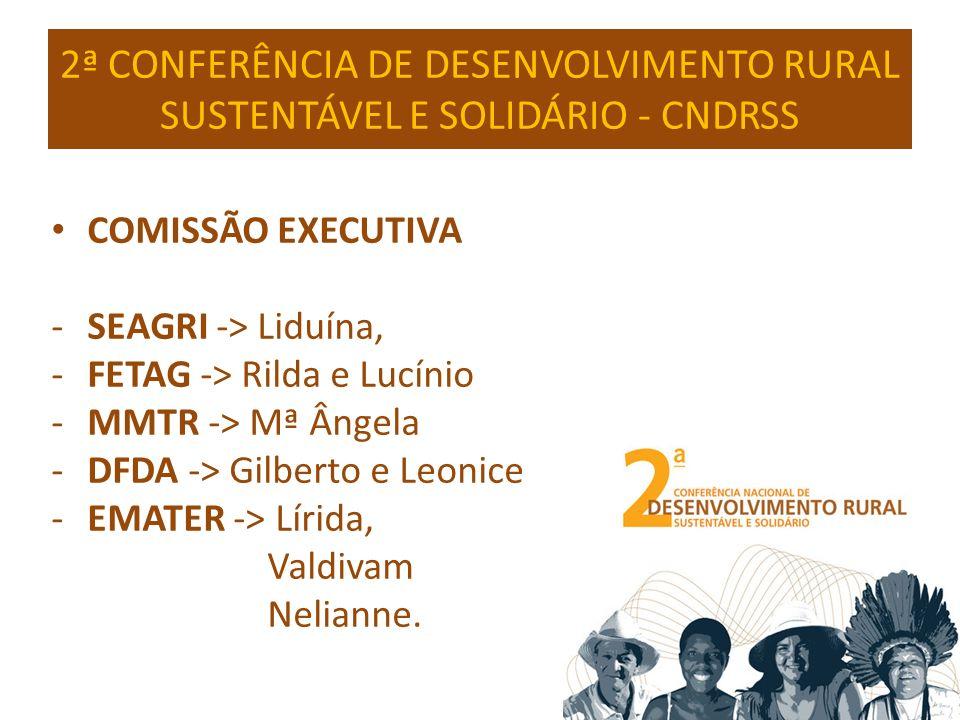 2ª CONFERÊNCIA DE DESENVOLVIMENTO RURAL SUSTENTÁVEL E SOLIDÁRIO - CNDRSS COMISSÃO EXECUTIVA -SEAGRI -> Liduína, -FETAG -> Rilda e Lucínio -MMTR -> Mª Ângela -DFDA -> Gilberto e Leonice -EMATER -> Lírida, Valdivam Nelianne.