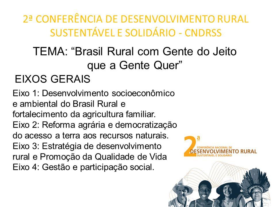 2ª CONFERÊNCIA DE DESENVOLVIMENTO RURAL SUSTENTÁVEL E SOLIDÁRIO - CNDRSS TEMA: Brasil Rural com Gente do Jeito que a Gente Quer Eixo 1: Desenvolvimento socioeconômico e ambiental do Brasil Rural e fortalecimento da agricultura familiar.