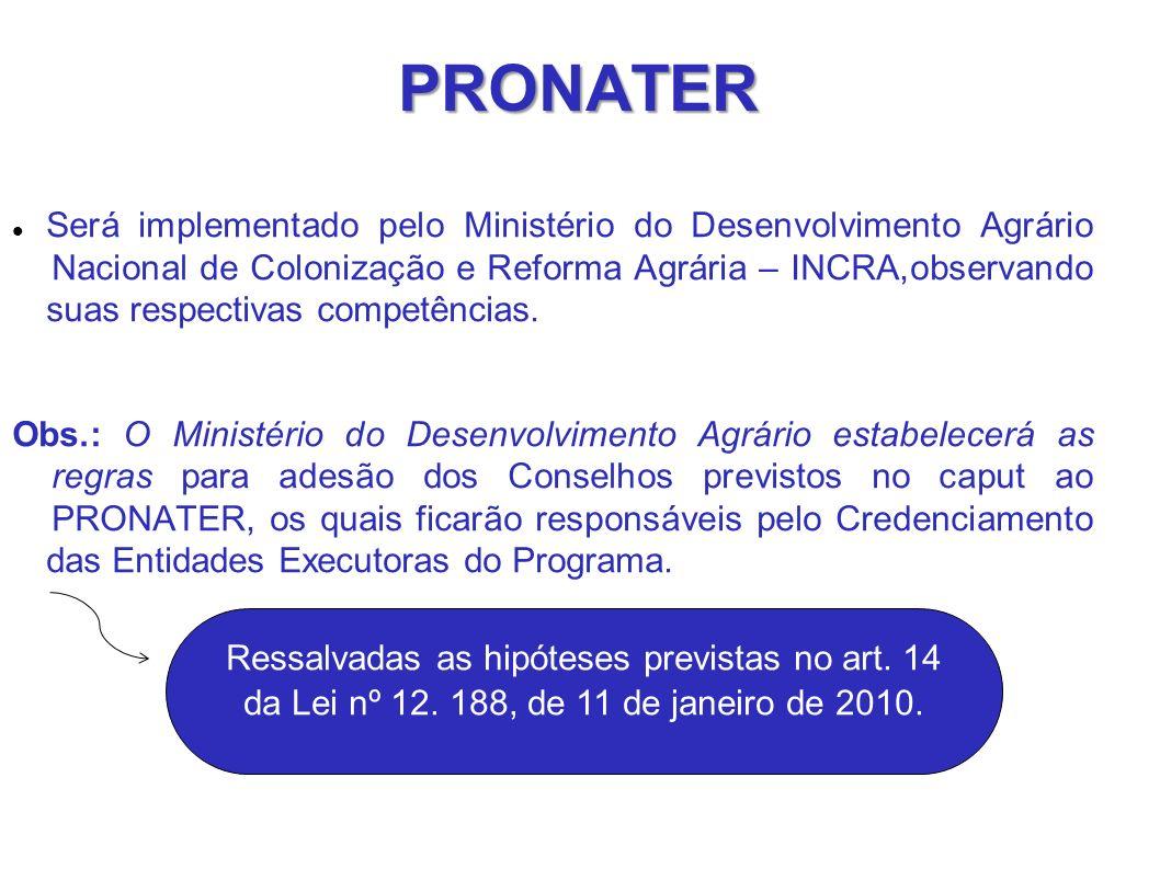 PRONATER Será implementado pelo Ministério do Desenvolvimento Agrário Nacional de Colonização e Reforma Agrária – INCRA,observando suas respectivas competências.