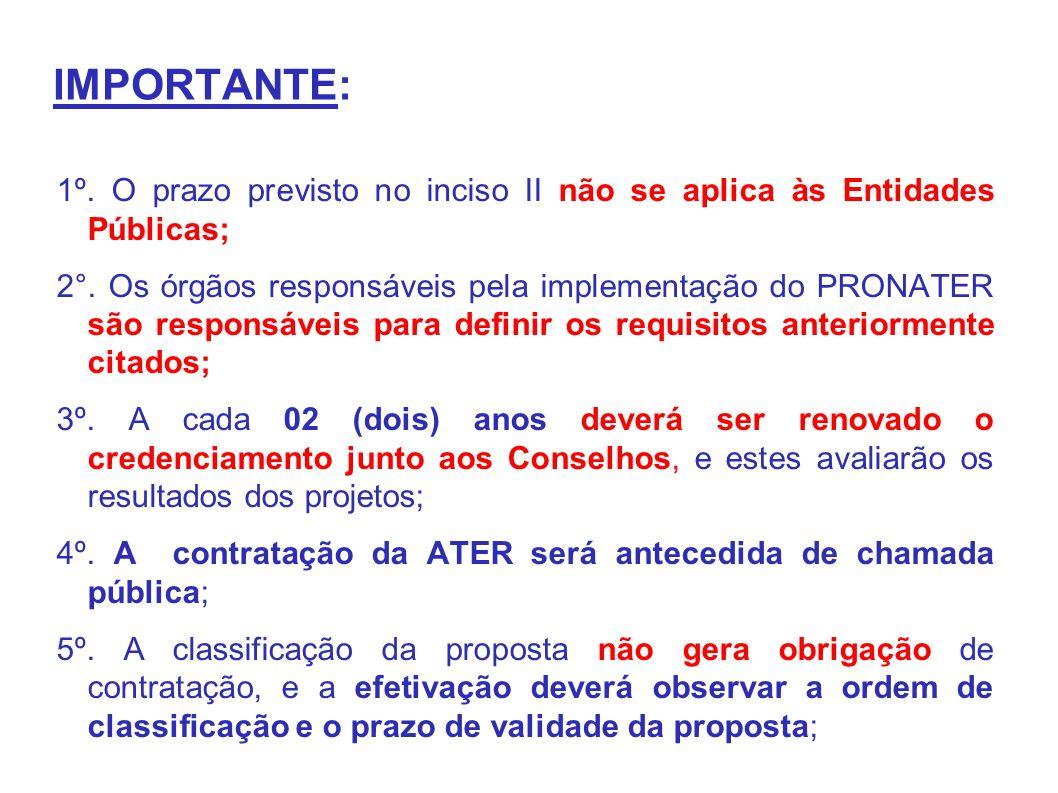 IMPORTANTE: 1º. O prazo previsto no inciso II não se aplica às Entidades Públicas; 2°.