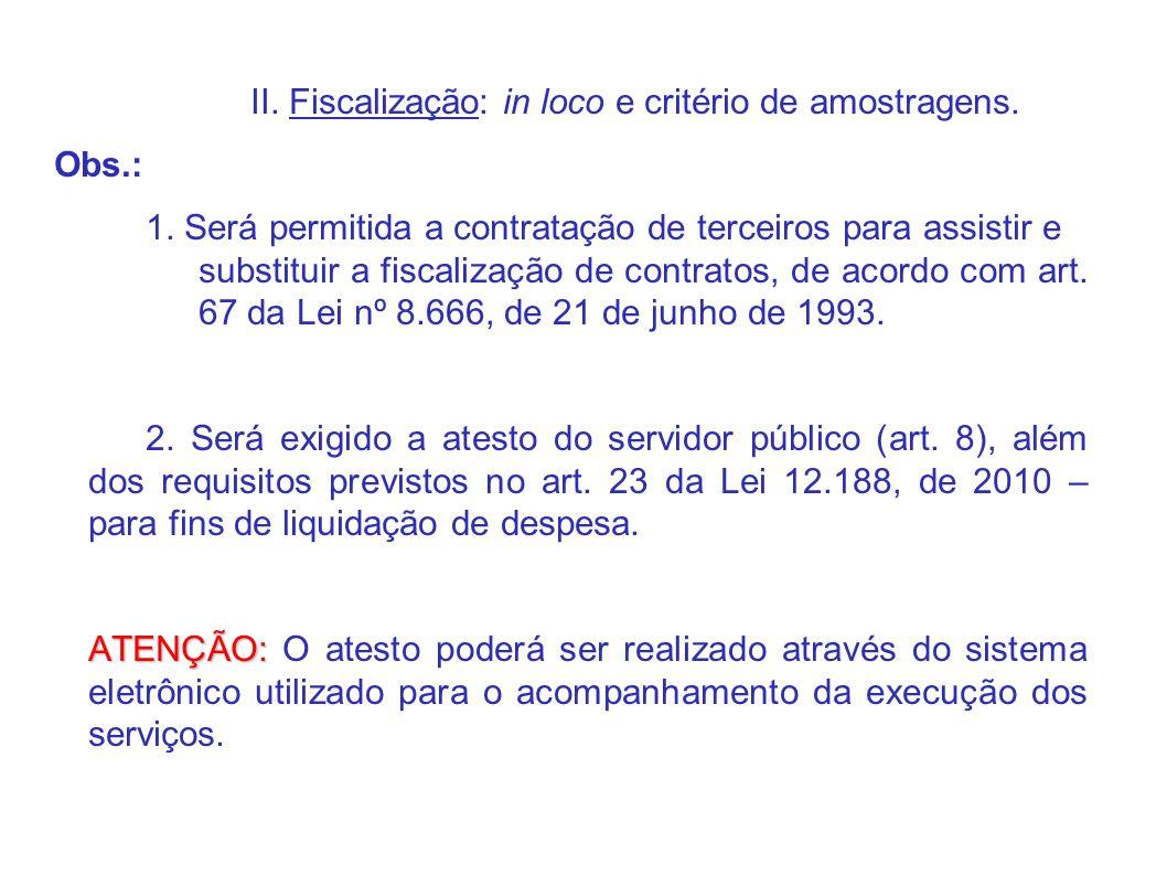 II. Fiscalização: in loco e critério de amostragens.