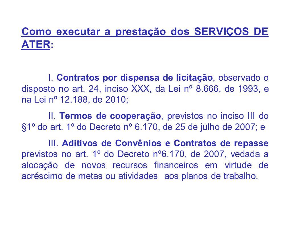 Como executar a prestação dos SERVIÇOS DE ATER : I.