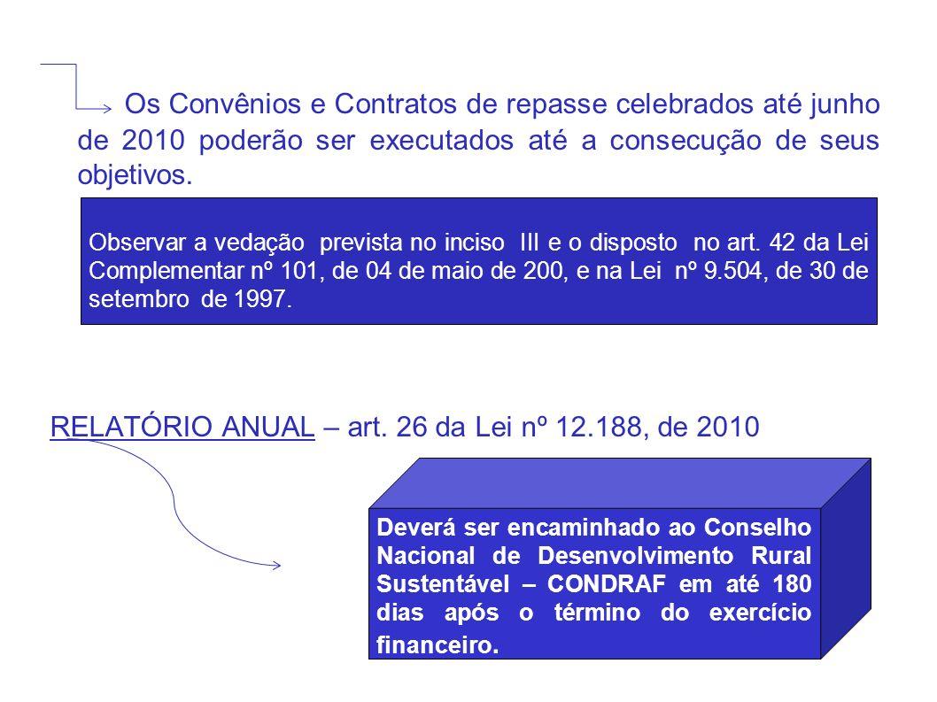 Os Convênios e Contratos de repasse celebrados até junho de 2010 poderão ser executados até a consecução de seus objetivos.